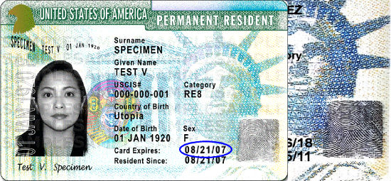 Forged card with same fingerprint as example Permanent Resident Card