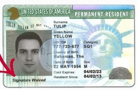 Signature Waived Green Card Permanent Resident card